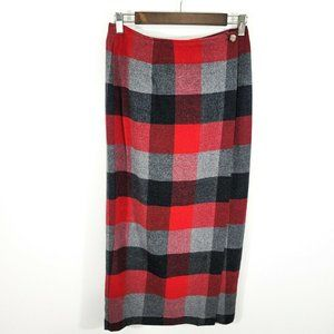 Old Navy Womens Vintage Wool Wrap Plaid Skirt Red